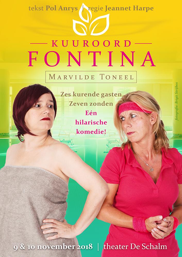 Marvilde Toneel Veldhoven - Kuuroord Fontina 2018 - poster ontwerp: Casper Flipsen (VormMeester)
